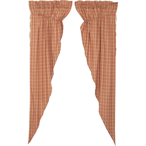 Sawyer Mill Red Plaid Long Prairie Curtain Set