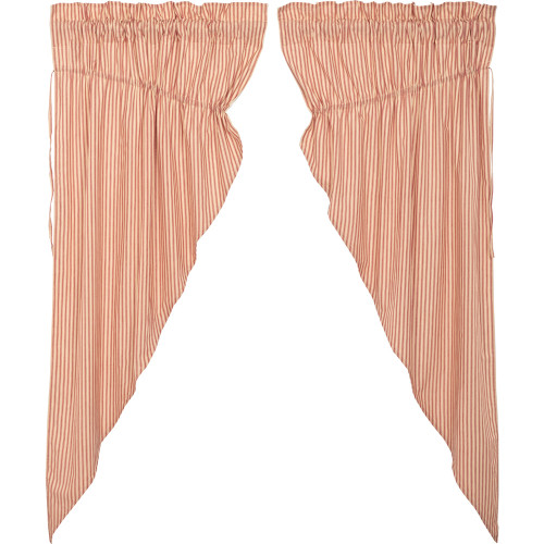 Sawyer Mill Red Ticking Stripe Prairie Curtain Set