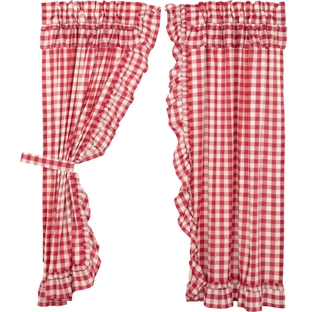 Annie Buffalo Red Check Ruffled Short Panel Curtain Set By