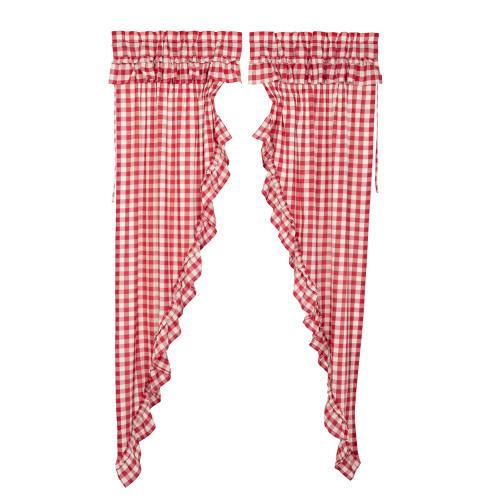 Annie Buffalo Red Check Ruffled Long Prairie Curtain Set