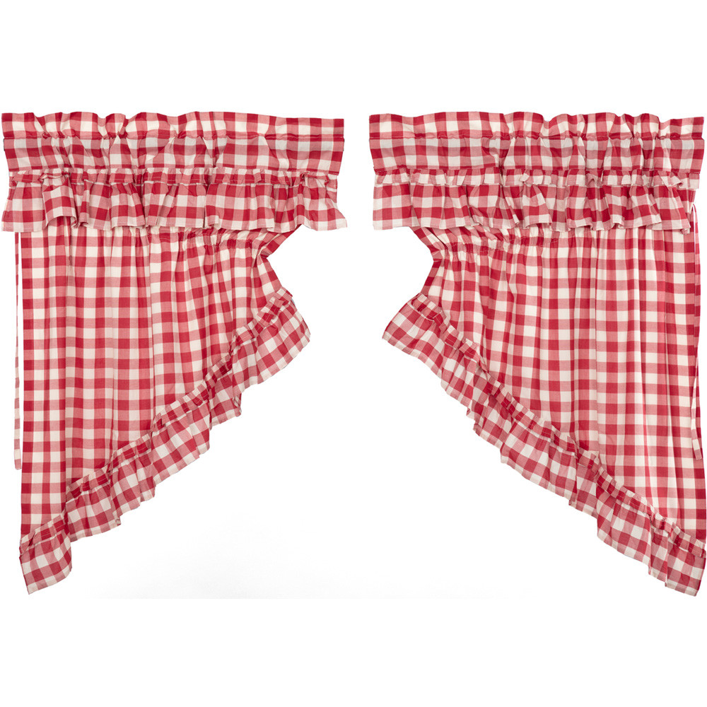 Annie Buffalo Red Check Ruffled Prairie Swag Set By Vhc Brands