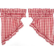Annie Buffalo Red Check Ruffled Prairie Swag Set