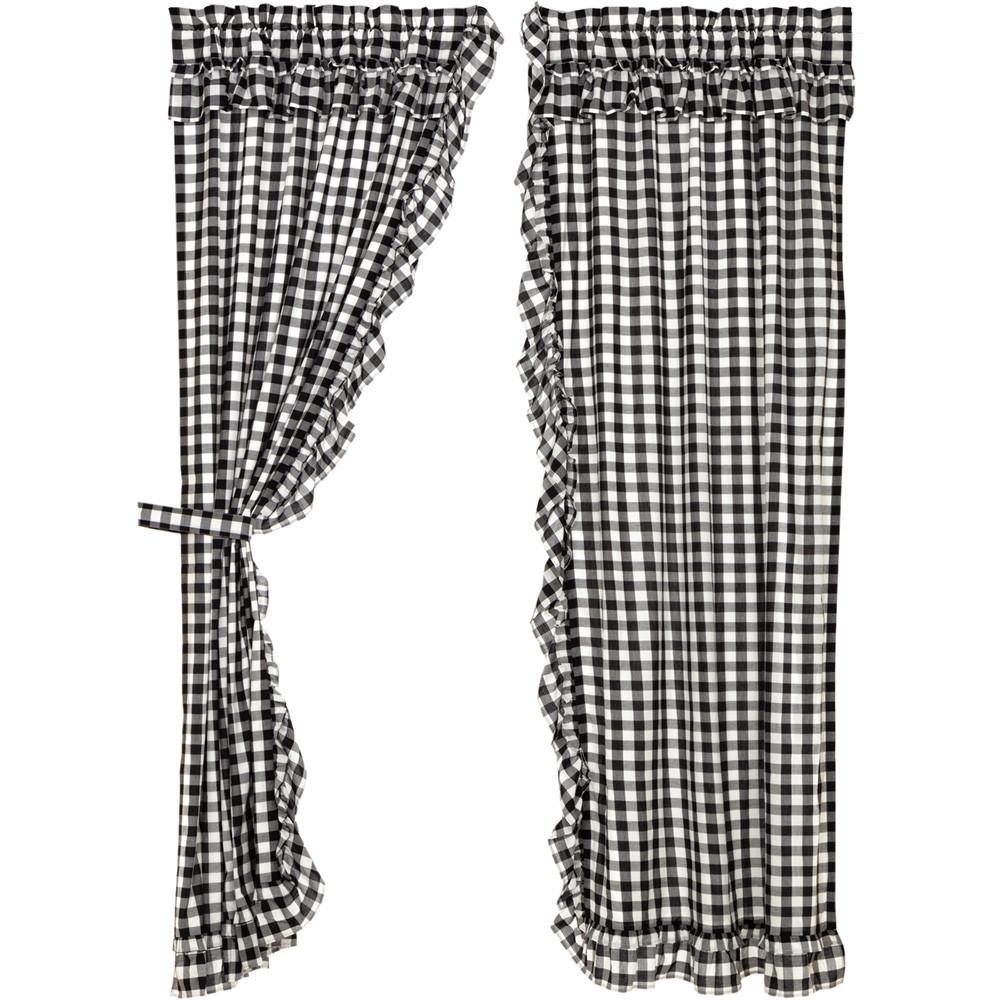 Annie Buffalo Black Check Ruffled Panel Curtain Set By Vhc