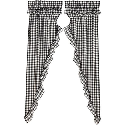 Annie Buffalo Black Check Ruffled Long Prairie Curtain Set