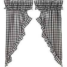 Annie Buffalo Black Check Ruffled Prairie Curtain Set