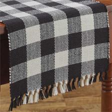 Wicklow Yarn Table Runner - Black and Cream