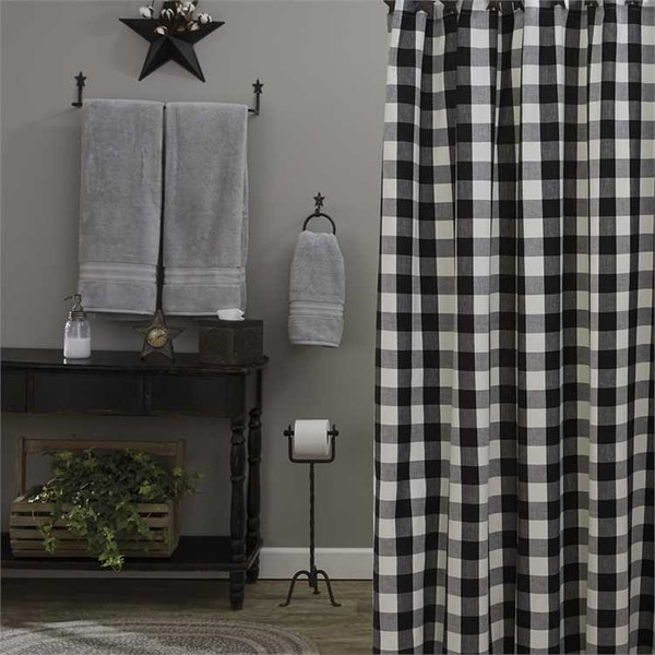 Wicklow Shower Curtain - Black and Cream