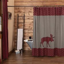 Cumberland Moose Applique Shower Curtain