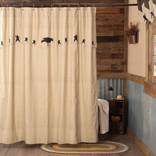 Kettle Grove Shower Curtain with Attached Valance