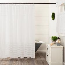 White Ruffled Sheer Petticoat Shower Curtain