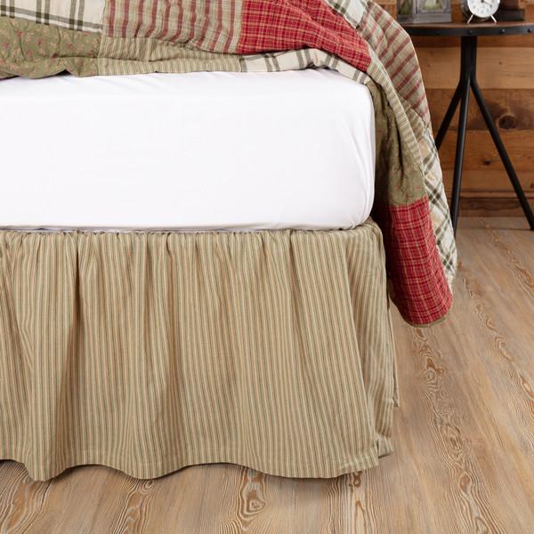 Prairie Winds Green Ticking Stripe Bed Skirt