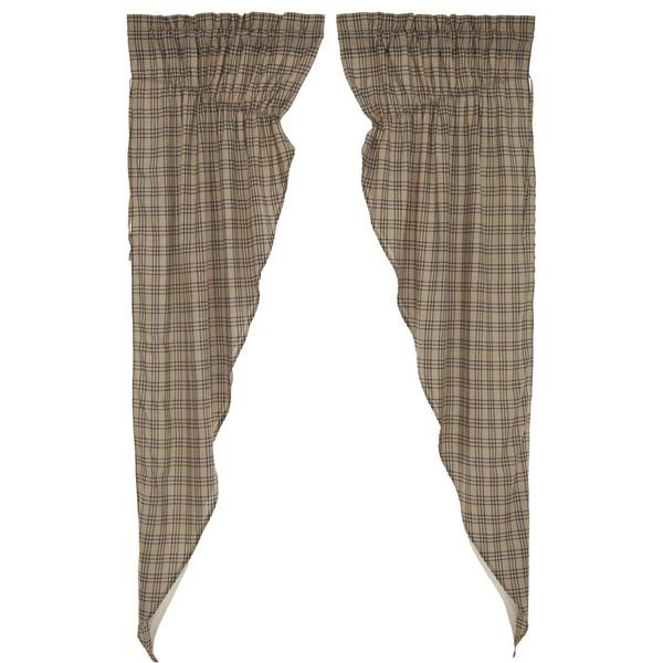 Sawyer Mill Charcoal Plaid Long Prairie Curtain Set
