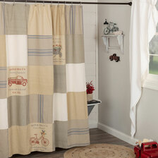 Farmer's Market Stenciled Patchwork Shower Curtain