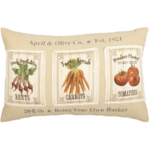"Farmer's Market Garden Veggies Pillow 14"" x 22"""