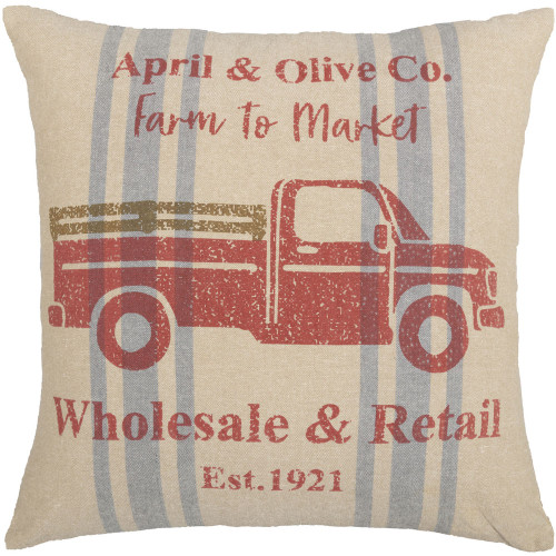 "Farmer's Market Delivery Truck Pillow 18"" x 18"""