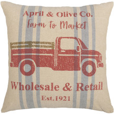 """Farmer's Market Delivery Truck Pillow 18"""" x 18"""""""