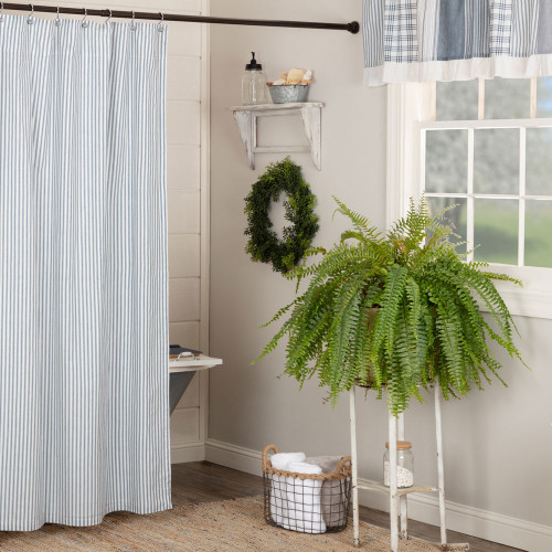 Sawyer Mill Blue Ticking Stripe Shower Curtain