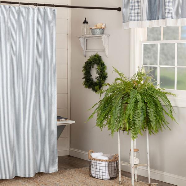 Sawyer Mill Blue Ticking Stripe Shower Curtain
