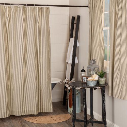 Sawyer Mill Charcoal Ticking Stripe Shower Curtain