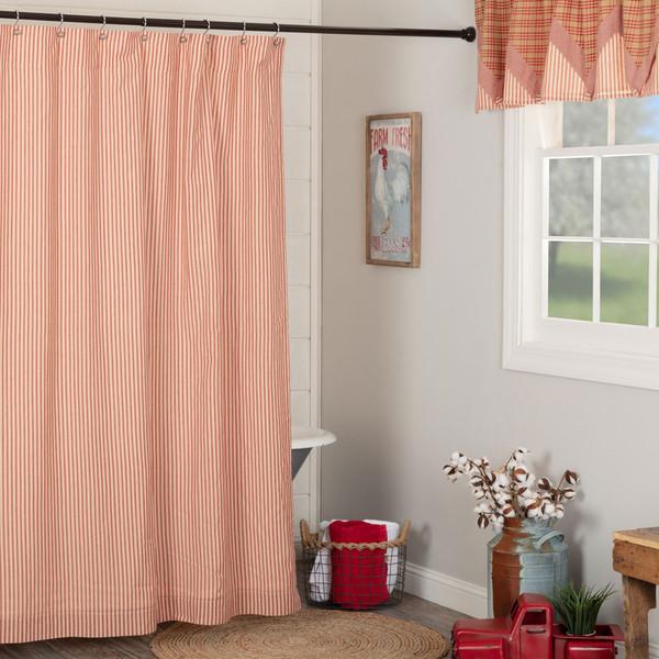 Sawyer Mill Red Ticking Stripe Shower Curtain