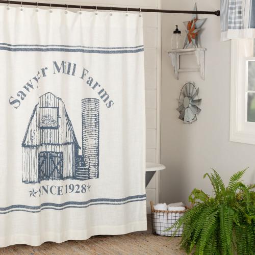Sawyer Mill Blue Barn Shower Curtain