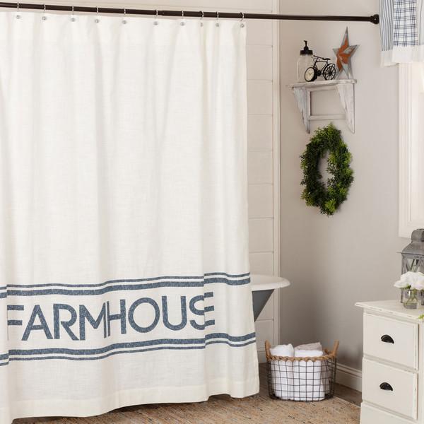 Sawyer Mill Blue Farmhouse Shower Curtain
