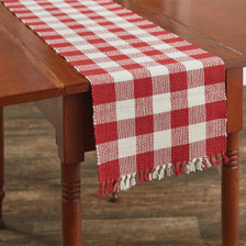 Wicklow Yarn Table Runner - Red and Cream