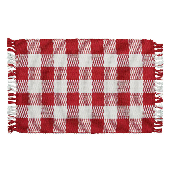 Wicklow Yarn Placemat Set - Red and Cream