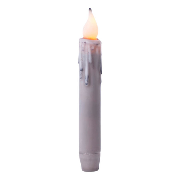 """7"""" Gray Battery Operated Taper Candle with Timer"""