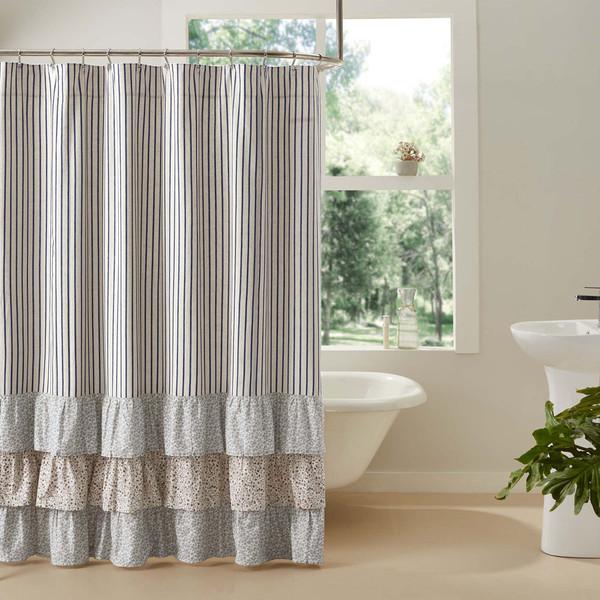 Kaila Ticking Stripe Ruffled Shower Curtain