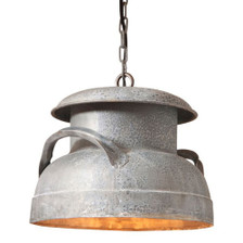 Milk Can Pendant in Weathered Zinc