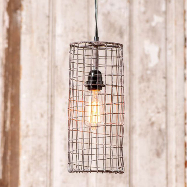 Wire Cylinder Pendant in Antique Brown