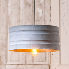 Large Drum Pendant in Weathered Zinc
