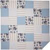 Annie Blue Floral Patch Quilt - Flat