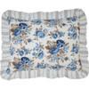 Annie Blue Floral Ruffled Quilted Standard Sham