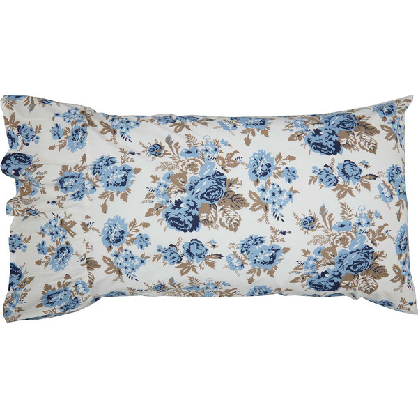 Annie Blue Floral Ruffled Standard Pillowcase Set
