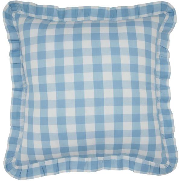 Annie Blue Check Ruffled Pillow 18x18