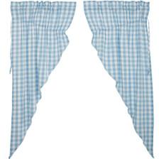 Annie Buffalo Blue Check Prairie Curtain Set