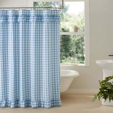 Annie Buffalo Blue Check Ruffled Shower Curtain