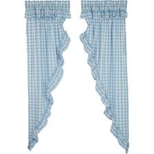 Annie Buffalo Blue Check Ruffled Long Prairie Curtain Set