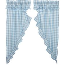 Annie Buffalo Blue Check Ruffled Prairie Curtain Set