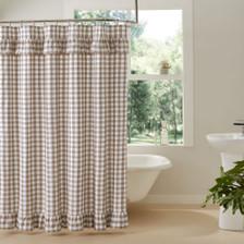 Annie Buffalo Portabella Check Ruffled Shower Curtain