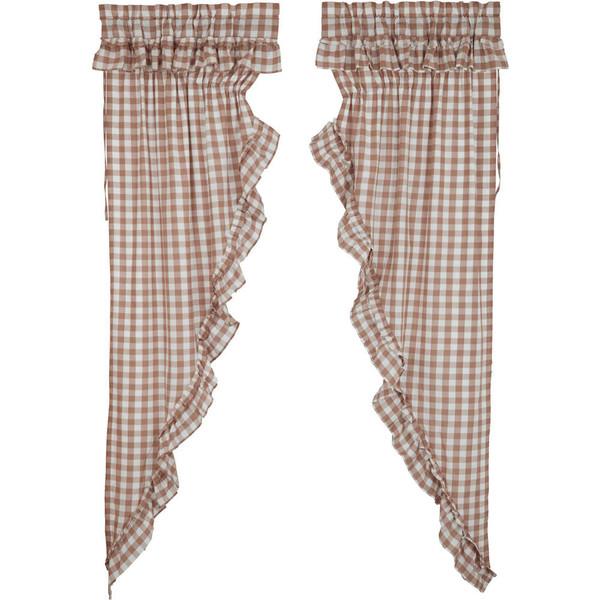 Annie Buffalo Portabella Check Ruffled Long Prairie Curtain Set
