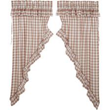 Annie Buffalo Portabella Check Ruffled Prairie Curtain Set