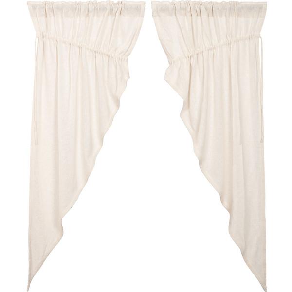 Burlap Antique White Prairie Curtain Set