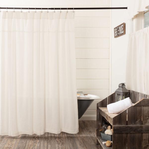 Burlap Antique White Shower Curtain