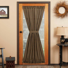 Black Check Door Panel Curtain