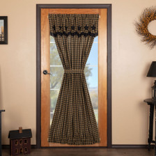 Black Star Door Panel with Attached Scalloped Layered Valance