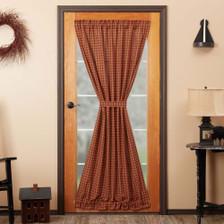 Burgundy Check Door Panel Curtain