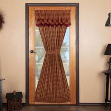 Burgundy Star Door Panel with Attached Scalloped Layered Valance